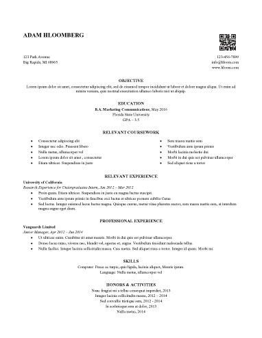 Internship Resume Sample 12 Resume Templates and Samples Pinterest - resume for internship