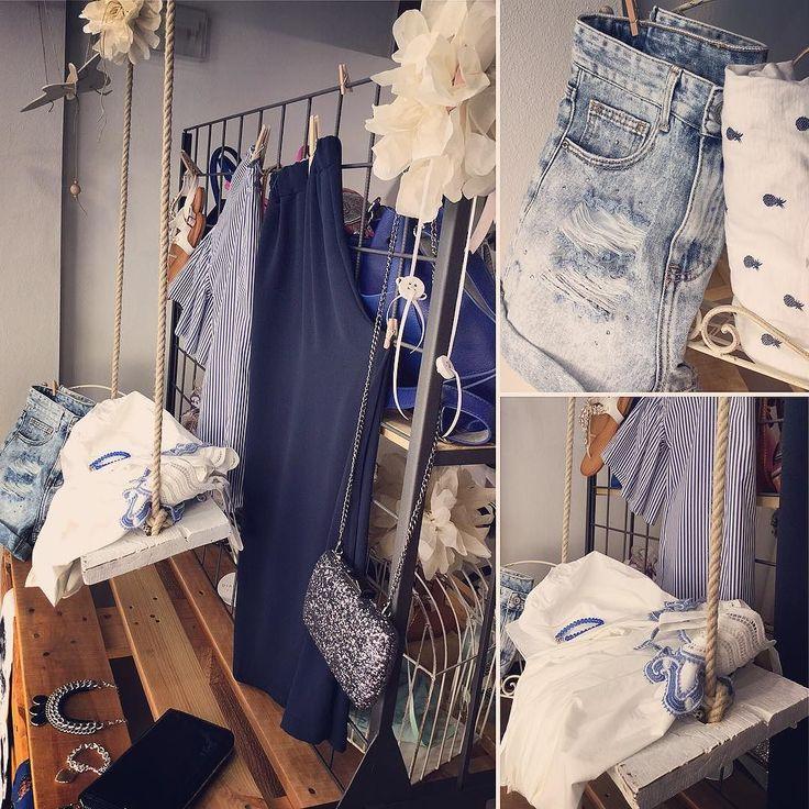 EstateEstateEstate  #vetrina #biancoeblu #summertime #short #jeans #tshirt #pineapple #top #romantic #altalena #culottepant #clutch #casualchic #shopping #lapulcedilulu #viaroma #pennabilli #rimini by la_pulce_di_lulu