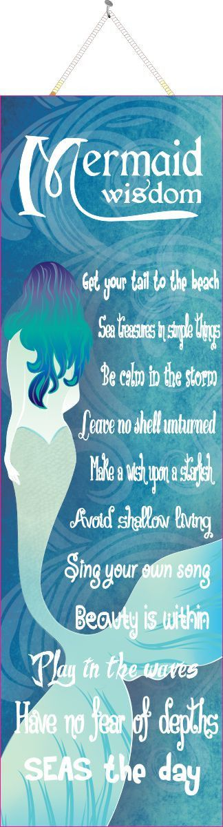 Mermaid Wisdom Beach Quote Sign with Stylized Mermaid & Curled Wave Background