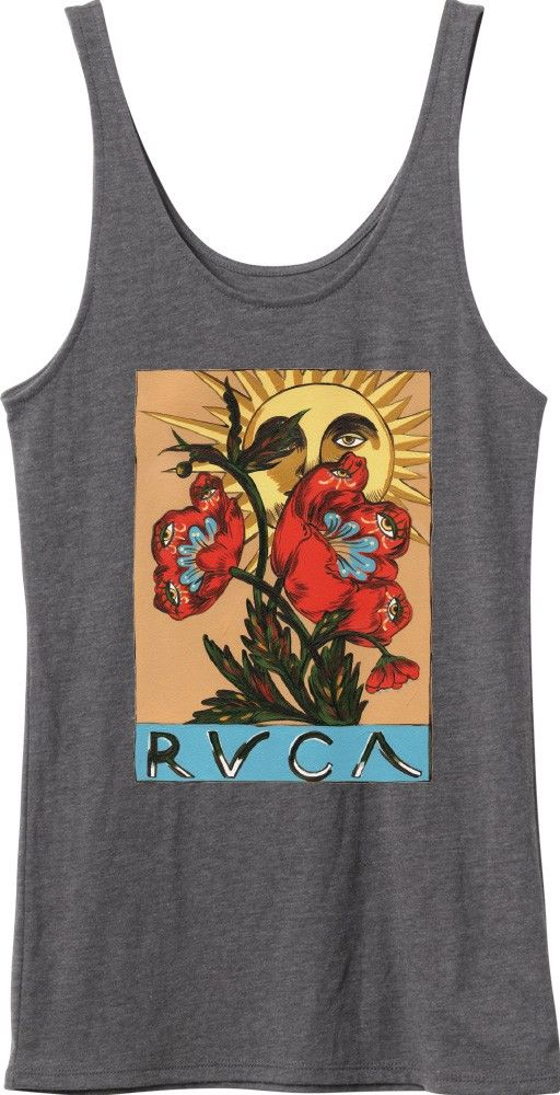 The RVCA Rise Tank features artist by Melissa Grisancich, a RVCA artist from Melbourne