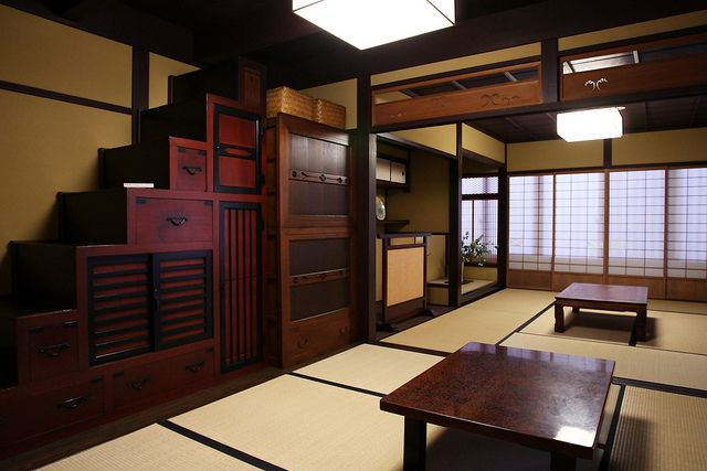 An example of a Japanese Kaidan Tansu (step cabinet) installed in a room.