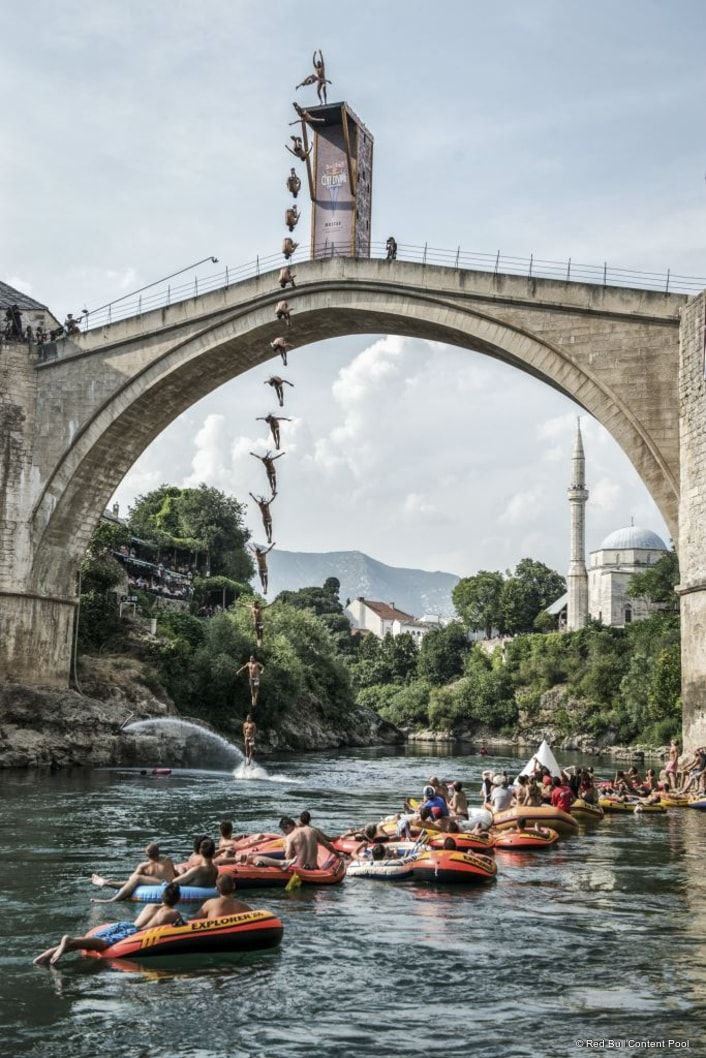 Red Bull Cliff Diving returns to Mostar. Built in the 16th century, the iconic