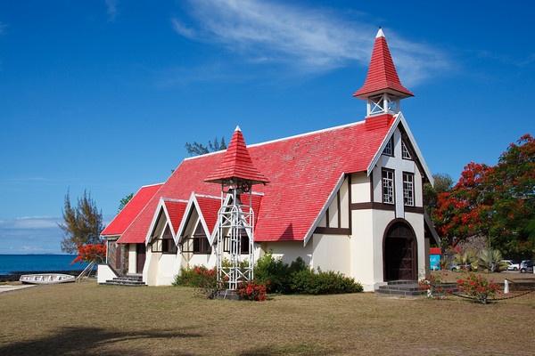 Famous church at Cap Malheureux, Mauritius