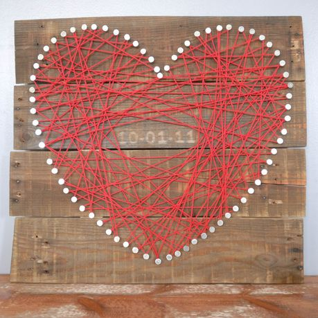 String Art on Pallet wood with Wedding date stain in. Would make a great wedding gift of wedding decor.