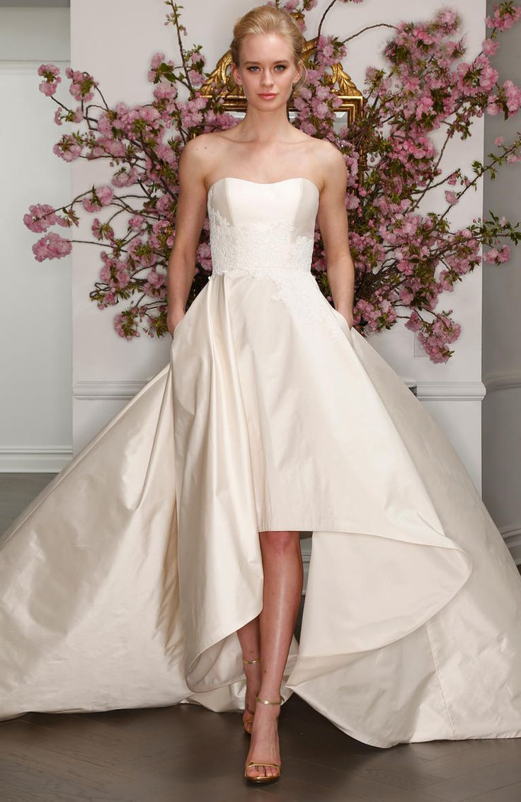 Legends by Romona Keveza Spring 2017 strapless hi-lo ball gown wedding dress with floral appliqué detail