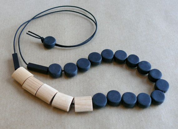 Polymer Clay Bead Necklace  Black Beaded Necklace by FoffaHandmade