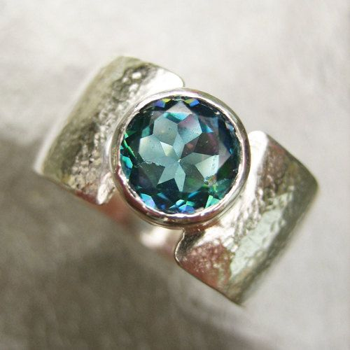Mystic Topaz Ring - Round Blue Topaz Ring, Faceted, Sterling Silver Wide Band, Hammered, Size 9, Chunky Silver Ring, Gemstone