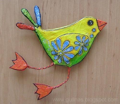 Gulnas' Kunstblog - paper mache bird