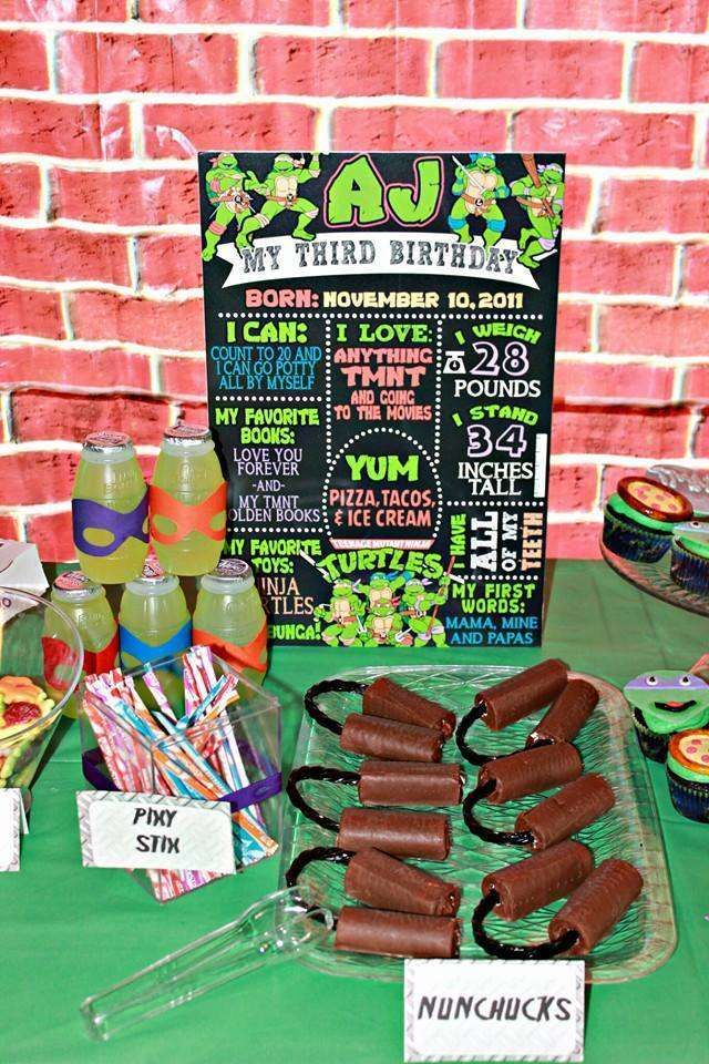 Fun sign at a Teenage Mutant Ninja Turtles birthday party!  See more party planning ideas at CatchMyParty.com!
