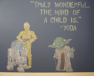 My Chalkboard Wall - Found the perfect yoda quote to fit my life right now. :)