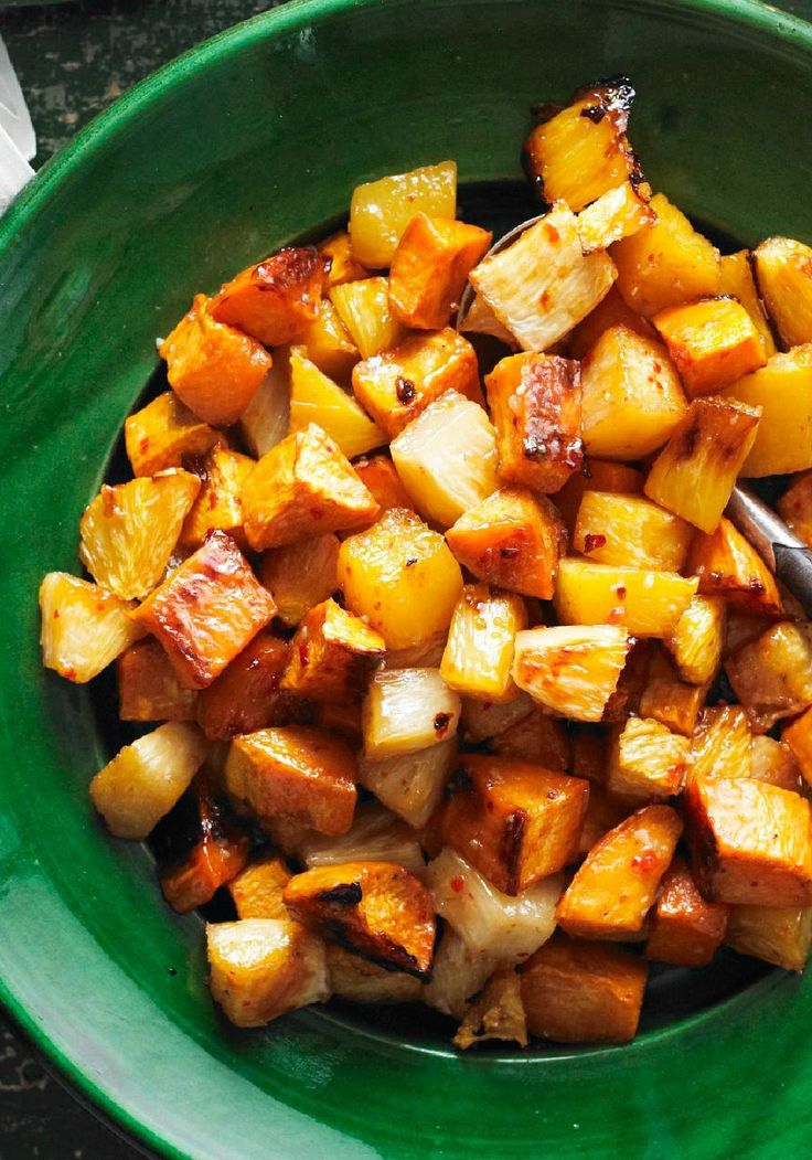 Roasted Sweet Potatoes and Pineapple — As if roasted sweet potatoes weren't sweet enough on their own! This side dish recipe calls for naturally sweet pineapple chunks and a bit of brown sugar, too.