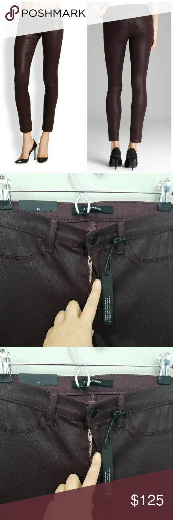 NWT J Brand | Coated super skinny jeans New j brand jeans.  Size 25. Perfect for a night out.  Some stretch.  Great shine gives leather look without the leather discomfort.  Color is lacq pinot, a purple color. J Brand Jeans Skinny