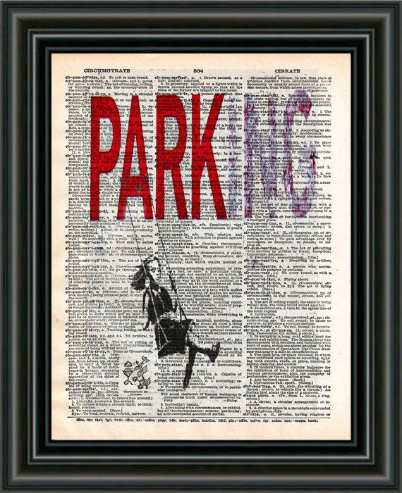 Banksy wall art Parking girl on swing dictionary art by Loft817, $7.99