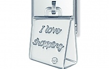 Nomination Stainless Steel and Sterling Silver Shopping Bag with Cubic Zirconia Charm