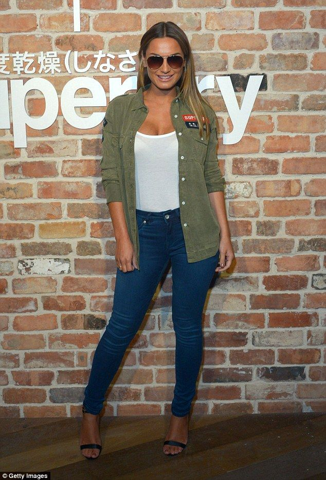 Sam Faiers goes casual in skinny jeans and low-cut vest at party #dailymail