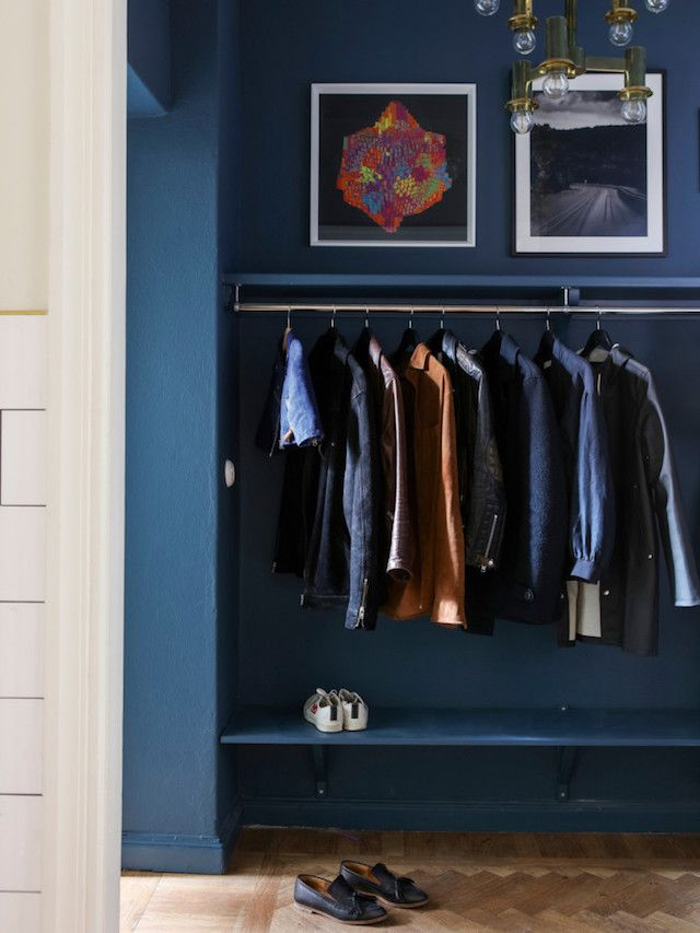 Hall way - Alcro Trend magazine - Photo Klas Sjöberg - vintage furniture, eclectic, blue wall, wooden floor, art..