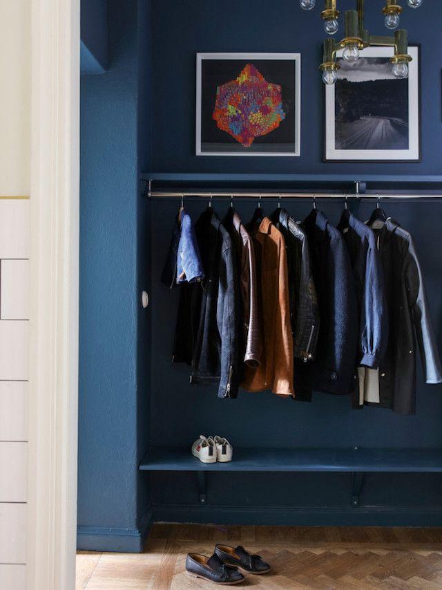 Hall way - Alcro Trend magazine - Photo Klas Sjöberg - vintage furniture, eclectic, blue wall, wooden floor, art..