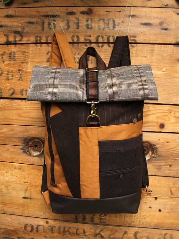 Brown and ochre upcycled roll top rucksack using lapel from men's suit & the back part from a men's trousers