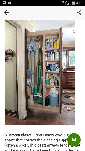 Everyone Needs A Broom Closet; Here The Brooms, Mops And Cleaning Supplies  Are Very Efficiently Housed In A Narrow Pullout Cabinet.