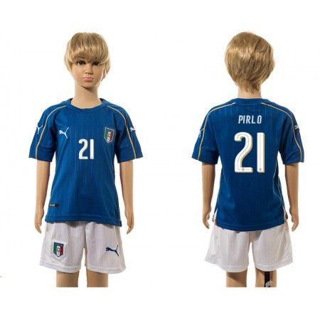 Italien Trøje Børn 2016 #Pirlo 21 Hjemmebanetrøje Lange ærmer.222,01KR.shirtshopservice@gmail.com