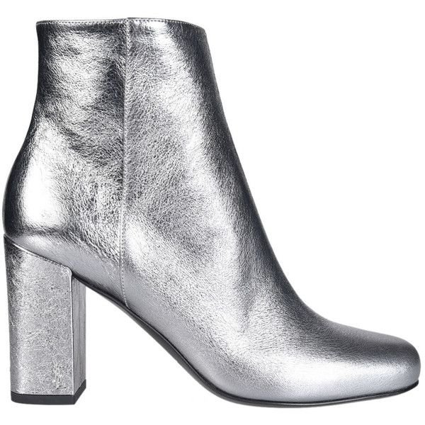 Saint Laurent Metallic Ankle Boots (9.447.375 IDR) ❤ liked on Polyvore featuring shoes, boots, ankle booties, silver, metallic booties, cat booties, yves saint laurent, bootie boots and cat boots