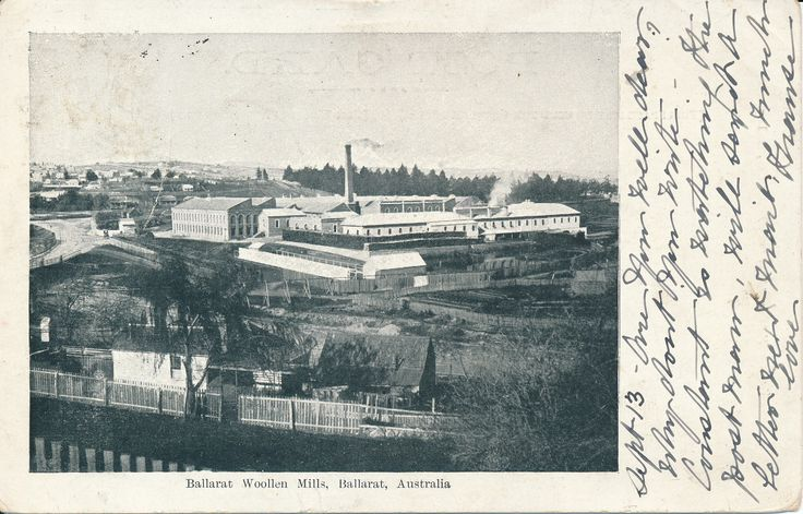 The Sunnyside Woollen mills were one of the big textile manufacturers in Ballarat.  In the foreground you can see the Chinese market gardens located near the mills.  The factory was built in the early 1870s and made flannels and blankets.   #PostcardThursdays #Ballarat #History #Postcard