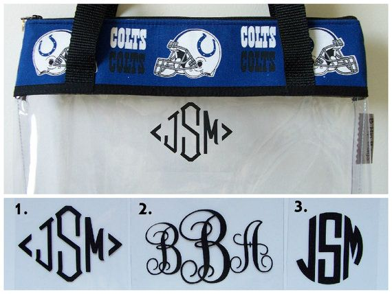 NFL Colts Monogram Clear Transparent Stadium by BHipBags on Etsy