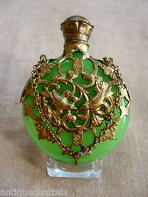 Victorian Antique - Apple Green Opaline Glass Chatelaine Perfume Scent Bottle