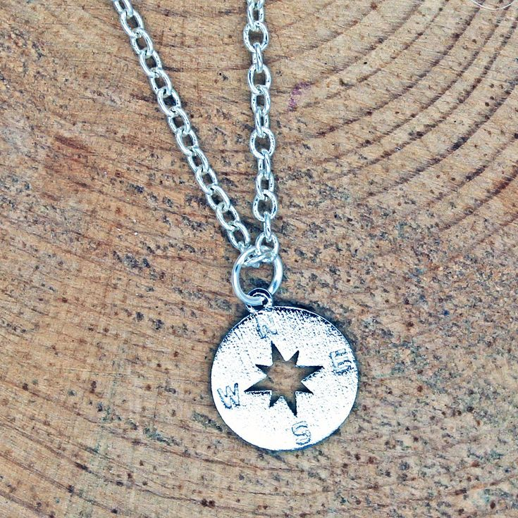 Compass Charm Necklace Great gift for travel lovers, college students, new job.