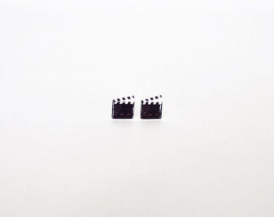 Movie Slate Stud Earring Post Jewelry Accessories Clapper Board Clapperboard…: