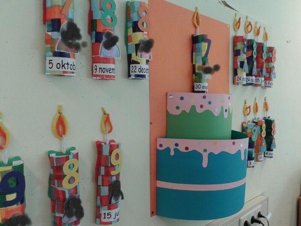Verjaardagskalender. Gemaakt van een wc rol