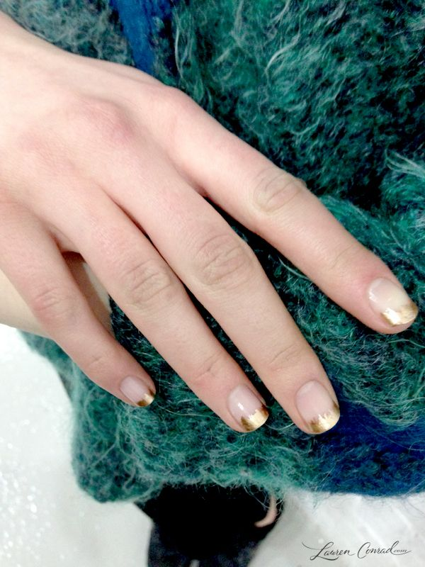 Gold French Tips at Suno Fall / Winter 2014 #nails #french_tips #gold #manicure #beauty #nail_art