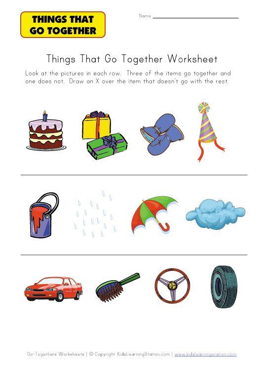 kindergarten go togethers worksheet