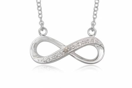 INFINITE ETERNITY silver necklace with pendant with cubic zirconia for women