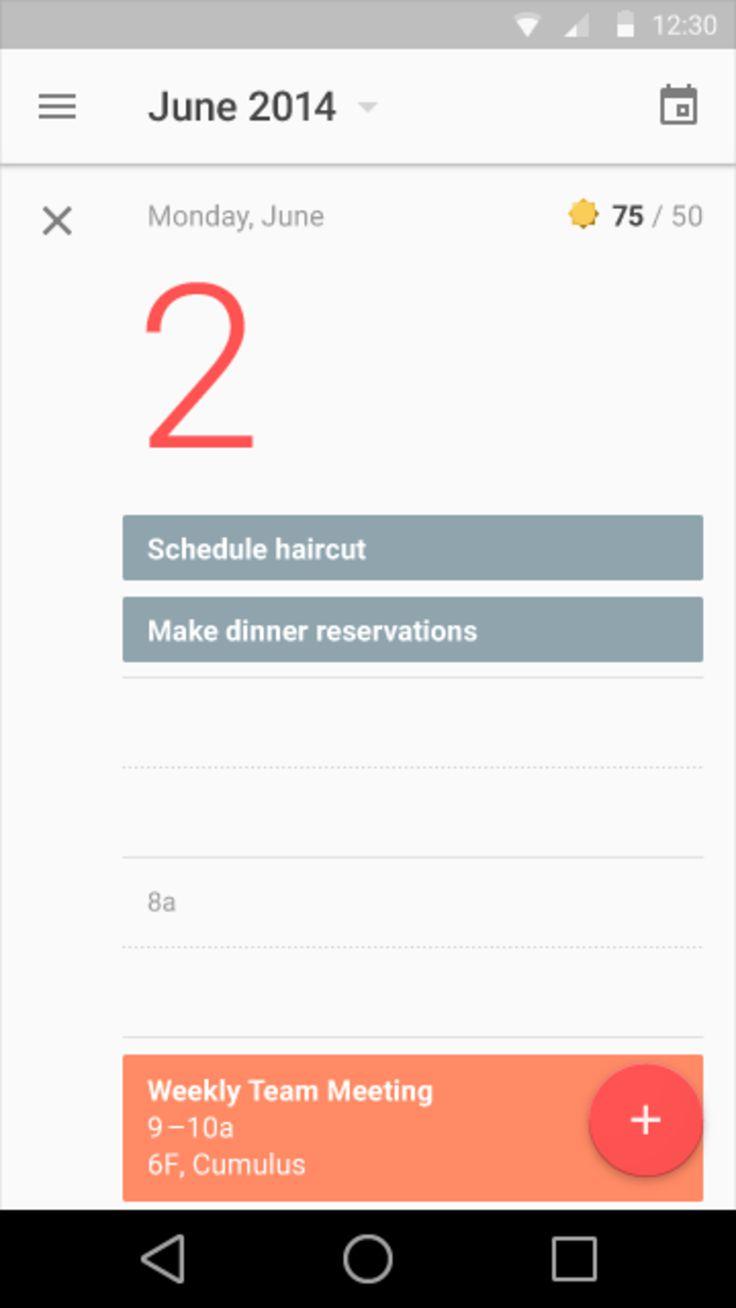 Google Material Design: Calendar: Event
