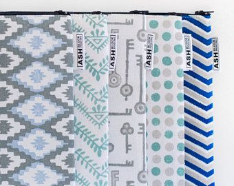 Hand Block Printed LARGE Canvas Zipper Pouch, Travel Organiser, Pencil Case, Cosmetic Bag, Purse - Eco Friendly Ink