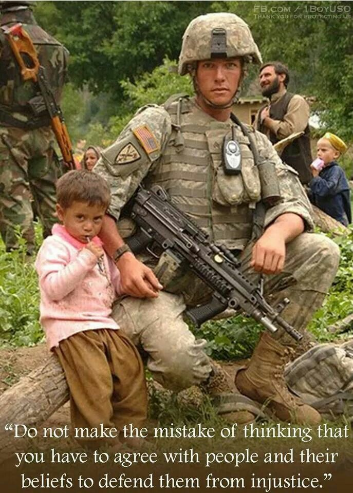 Helping the helpless. Its what our troops do around the world.