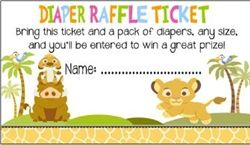 Lion King Baby Shower Diaper Raffle Ticket Party Favor
