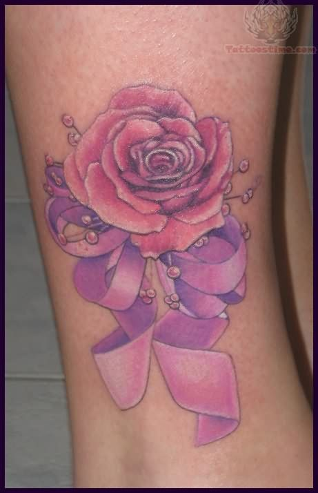 Rose And Ribbon Tattoo~ I need a Sterling Silver rose and a purple ribbon.