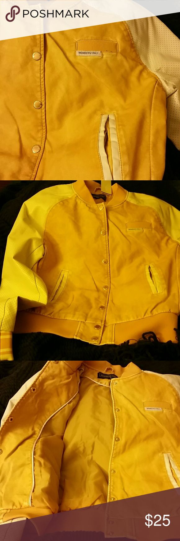 Members Only Jacket in Cream and Yellow:-).... A SUPER Cute Members Only Jacket in Cream and Yellow..Faux Super soft  leather Jacket in a Junior*s size M..a classic jacket with a Pop! Cute for Spring! Members Only Jackets & Coats Jean Jackets