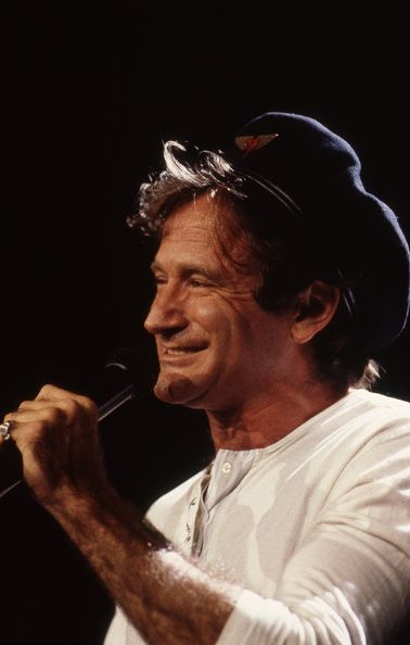 Robin Williams performs on stage during Amnesty International's 'A Conspiracy of Hope' benefit concert at the Rosemont Horizon, Rosemont, Illinois, June 13, 1986. CREDIT: KEN REGAN/CAMERA 5