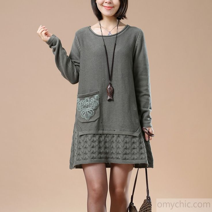 Gray plus size knit sweaters winter shift dress