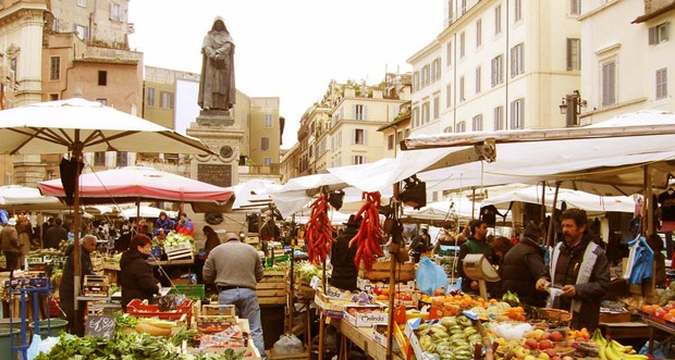 Campo Dei Fiori, Rome Address Piazza Campo Dei Fiori, Roma Map, Hours Mon-Sat 8-1 This bustling outdoor food market is best visited in the morning. Your kids will be doted on, and may even be given gifts of fruit! They'll have the opportunity to see produce we don't usually see in the States (zucchini blossoms in the spring, different varieties of berries, and imported asian fruits). In the afternoon, the market clears out and there is plenty of room to run or kick a ball.