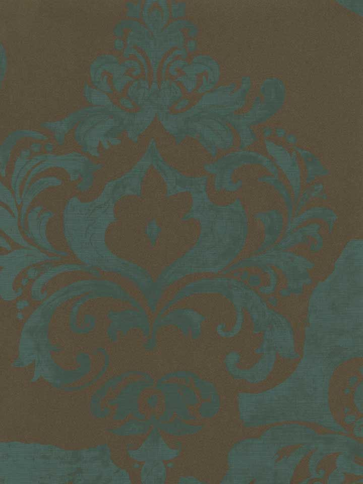 A Rustic Damask Wallpaper In Turquoise And Chocolate From The Book Moda At AmericanBlinds