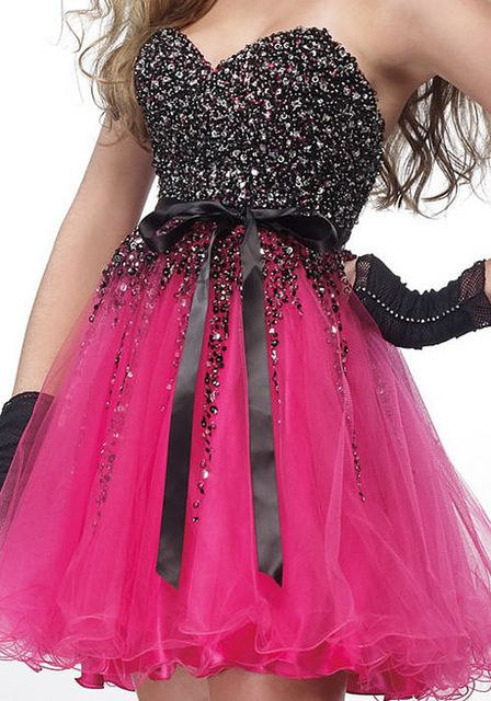 black pink dress - awesome party or special fun event dress