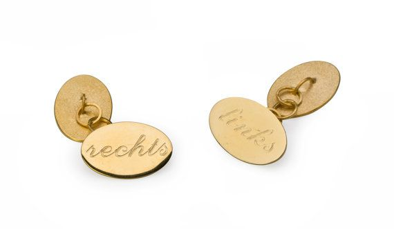 "Cufflinks golden silver oval with text ""left and right"" silver gold platted polished. Other languages possible."