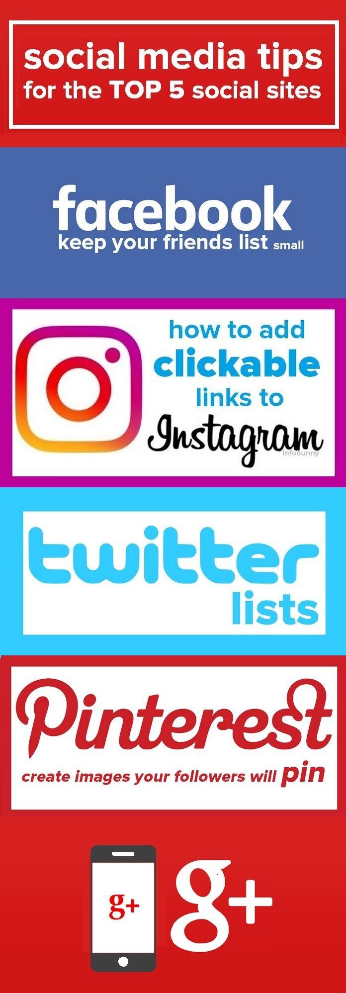 Social media tips for the top 5 social sites #facebook #instagram #twitter #pinterest