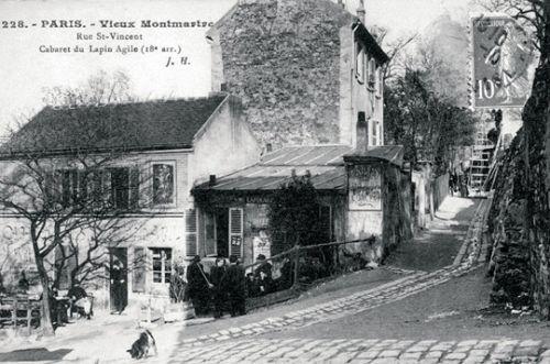 """Le Cabaret du """"Lapin Agile"""" à Montmartre en 1890  ( y venaient entre autres: Picasso, Modigliani, Apollinaire, Utrillo)"""