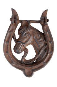 Öntöttvas, patkó alakú ajtókopogtató, középen lovas mintával.Mérete: magasság: 16 cm, szélesség: 11 cm, mélység: 2 cmSúlya: 0,58 kg