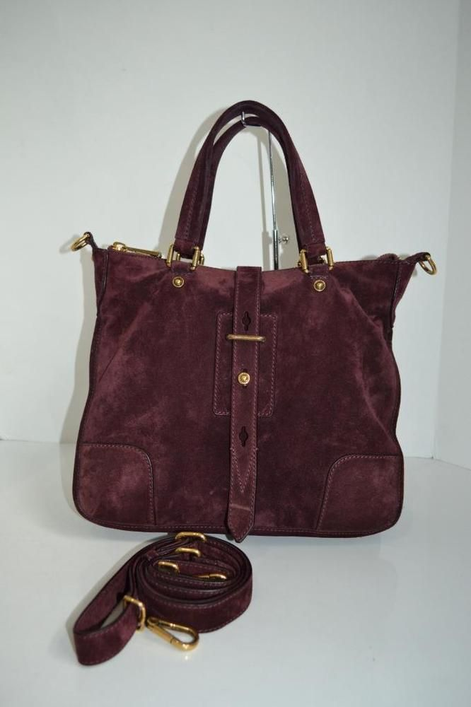 "Belstaff Burgundy Suede ""Hampton"" Handbag/Shoulder Bag/Purse/Crossbody $1,395…"